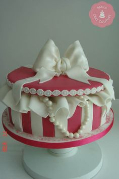 Hot Pink Stripey Gift Box Cake with handmade sugar bow