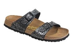 Sydney by Papillio       $79  Anaconda Dark Gray Birko-Flor  Unique materials and creative designs mark this two strap style. The thinner straps are placed comfortably over the foot bones. Contoured cork footbed provides great arch support and comfort. Lightweight, flexible sole can be resoled many times.