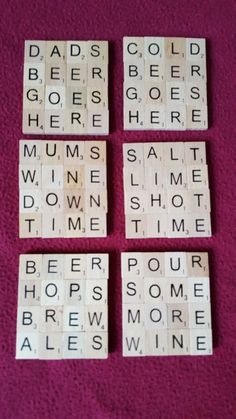 Items similar to Scrabble Coasters on Etsy Scrabble tile coasters. Perfect to add a bit of a personal touch to your cuppa or glass of wine. Scrabble Letter Crafts, Scrabble Coasters, Scrabble Ornaments, Diy Coasters, Crafts With Scrabble Tiles, Scrabble Kunst, Scrabble Tile Art, Scrabble Frame, Xmas