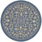 Courtyard Blue/Natural 7 ft. 10 in. x 7 ft. 10 in. Indoor/Outdoor Round Area Rug