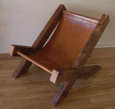 Altholz und Leder Lounge Chair. Handgemachte Lounge-Sessel. Hand genäht Leder. Rustikale Möbel