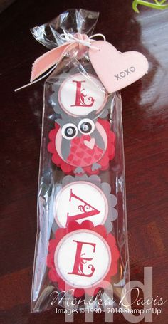 The clear bags are some that I ordered online. Get the punches out – the 1-3/4″ Scallop Circle punch, 1-3/8″ Circle punch, 1-1/4″ Circle punch, Two-step Owl punch, Full Heart punch. The colors are Real Red, Basic Grey, Blushing Bride, and Whisper White. Punch 4 Real Red Scallop Circles, punch 4 Basic Grey Scallop Circle, punch 4 Blushing Bride 1-3/8″ Circles and 3 Whisper White 1-1/4″ Circles. Punch the owl – his body is Basic Grey – eyes are white and black with tiny wiggle eyes