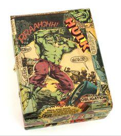 (http://www.papervsglue.com/vintage-hulk-comics-cigar-box/)  Vintage Incredible Hulk Comic Book Collage Cigar Box
