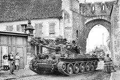 """British tank """"Cromwell"""" (Cromwell Mk IV) of the regiment of the tank brigade in Three-château, France. In the background the column of British tanks """"Sherman"""". Cromwell Tank, Churchill, Tank Warfare, Tank Armor, Armoured Personnel Carrier, Armored Fighting Vehicle, Military Pictures, Ww2 Tanks, World Of Tanks"""