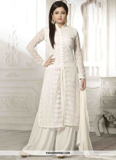 Fashionable Chicken Work Drashti Dhami Palazzo Style Designer Suit                                                                                                                                                      More