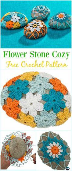 Crochet Flower Rock Cozy Free Pattern-#Crochet; Pebble #Stone; Cozy Free Patterns