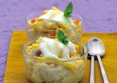 Zoete couscous met abrikozen, mango en safraan, yoghurt