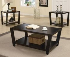 3 Piece Cappuccino Contemporary Occasional Table Set Includes Coffee Table and 2 End Tables -- You can find out more details at the link of the image.