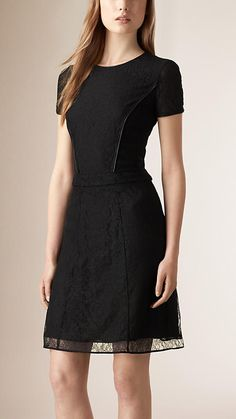 Burberry Black Fitted Lace Dress - A shift dress in lace, lined in silk.  Cut with a fitted waist, the design has lambskin piping detail at the chest and neckline.  Discover the women's dress collection at Burberry.com