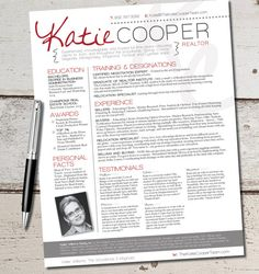 The Cooper Resume Template Design - Graphic Design - Marketing - Sales - Real Estate - Realtor on Etsy, $64.00