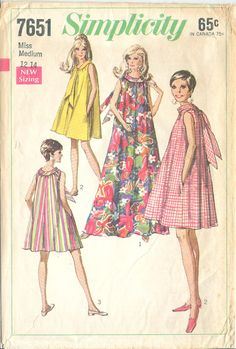 Simplicity 7651 Vintage 1960s Tent Dress Short or Long B34-36