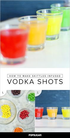 """For this year's Halloween party, serve up these sweet rainbow shots by infusing Skittles into vodka. They're so sweet and colorful that it ALMOST makes the shot-taking process easy! Don't forget to offer a bowl full of the candies as a """"chaser."""""""