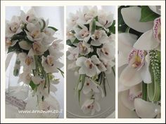 Bridal bouquets spill זרי כלה בעלי מבנה נשפך, white cymbidium ton sur ton wedding floral pieces - (re)Pinned by www.westpointorchids.com