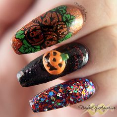 Products Used: CrowsToes Helheim, CrowsToes Beyond Your Fears, CrowsToes Candied Brains Anyone?, Mundo de Unas Geranium, Pueen Super Intense Black Jet Stamping polish, Pueen Halloween Party 01, Chez Delaney Halloween A003