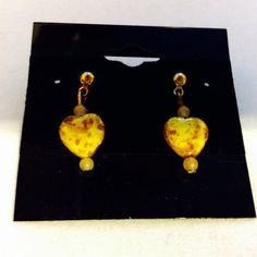 Valentine yellow earrings pierced yellow by JeriAielloartstore