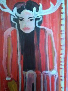 "Saatchi Online Artist Laurel Gallagher; Painting, ""Red Stag Goddess"" #art Selling Art Online, Saatchi Online, Art For Sale, Red And Pink, Saatchi Art, Original Artwork, Moose Art, Goddess Art, Sculpture"