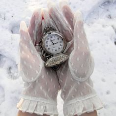 Modern Fairytale / Alice in Wonderland / karen cox. White lace gloves and pocketwatch
