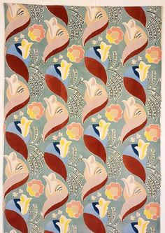 Blues/Yellows/Rust/Celadon Flowers and Leaves 1936 - screen printed cotton velvet tapestry design by Duncan Grant - originally commissioned for Cunard's ocean liner RMS Queen Mary Textiles, Textile Patterns, Textile Prints, Print Patterns, Tapestry Design, Textile Design, Fabric Design, Duncan Grant, Guache