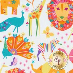 """Origami Oasis DC6394-CAND Candy by Tamara Kate for Michael Miller Fabrics: Origami Oasis is a modern children collection by Tamara Kate for Michael Miller Fabrics. This fabric features safari animals such as: lions, zebras, giraffes, peacocks, and elephants tossed on an off-white background. Width: 43""""/44""""Material: 100% CottonSwatch Size: 6"""" x 6"""""""