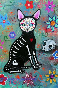 Mexican Folk Art Day of the Dead El Gato Cat Painting by prisarts Sphynx, great gift for cat lovers Dia de los Muertos