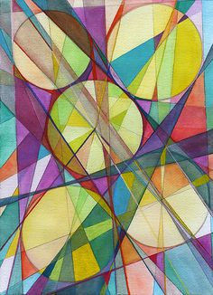 """""""Wheel within a Wheel 43"""" Created by Lorien Suarez One of a Kind Watercolor and gouache painting from the """"Wheel within a Wheel"""" series. """"Wheel within a Wheel 43"""" is a colorful organic design and geometric abstract composition with a dynamic interplay of color, light and form inspired by the fundamental principles of geometry and biomorphic-organic references commonly found in nature."""