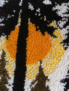 1970's Wall Hanging Mid Century 60's Textile Art VTG Cabin Decor Latch Hook Rug