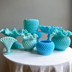 Turquoise Green Pastel Hobnail Milk Glass. LOVE.