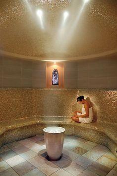 a session in the Amethyst Steam Room - The Spa at Mandarin Oriental, New York . Mandarin Oriental, Saunas, Deco Spa, Sauna A Vapor, Sauna Steam Room, Steam Bath, Sauna Room, Spa Interior, Interior Design
