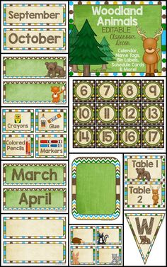 EDITABLE Classroom Decor - Beautiful Woodland Animals Theme. I love the mossy greens, eggshell creams, and chocolate browns of this decor set. I can't wait to personalize my classroom with all of the editable pieces! WOW!