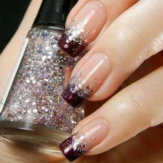 Glitter nail art designs have become a constant favorite. Almost every girl loves glitter on their nails. Have your found your favorite Glitter Nail Art Design ? Beautybigbang offer Glitter Nail Art Designs 2018 collections for you ! French Manicure Nails, French Tip Nails, French Pedicure, Manicure Ideas, French Manicure With Glitter, French Manicure With A Twist, Glitter French Tips, Love Nails, Fun Nails
