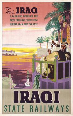 Lot 333: Rare Original 1940/50s IRAQ State Railway Travel Poster…