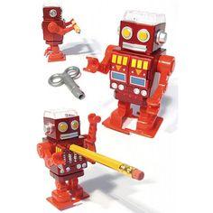 Red Robot Pencil Sharpener : Red Christmas Robot : Plastic