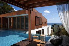 Back view-pool & cabana 'Byron Bay Beach House' Grand Designs Australia, Byron Bay Beach, Grand Designs New Zealand, Earthship Home, Pool Cabana, Australian Homes, Pool Houses, Pool Designs, My Dream Home