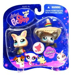 """Hasbro Year 2008 Littlest Pet Shop Pet Pairs """"Funniest"""" Series Bobble Head PEt Figure Set - Grey Chihuahua Puppy Dog (#836) with Sombrero Hat and Peach Color Chihuahua (#837) with Cloth (78954) by Hasbro, http://www.amazon.com/dp/B0057L83L0/ref=cm_sw_r_pi_dp_S2jBqb17KMKZR"""