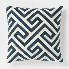 "Crewel Key Pillow Cover, 18""x18"", Blue Lagoon"