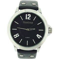 Firetrap Gents Analogue Large Black Dial Black Leather Strap Watch FT1044B