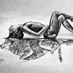 Ideas for tattoo wolf girl la loba Wolf Girl Tattoos, Wolf Tattoos For Women, Tattoo Wolf, Hippe Tattoos, Female Werewolves, Wolf Sketch, Wolves And Women, Wolf Illustration, Moon Drawing