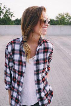 paid shirt, white t-shirt, messy side-braid,
