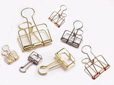Gold/ Rose pink/ Silver Wire Binder Clip. by niconecozakkaya