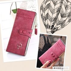 Wallet Super cute! Brand new! Tons of compartments. Inside man made material. Exterior is a matte leather. A rose/wine color pics pretty accurate. Price is firm unless bundled Bags Wallets