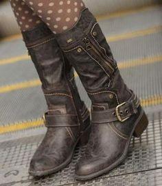 Womens Khaki Western Cowboy Buckle Strap Motorcycle Engineer Mid Calf Boots #342