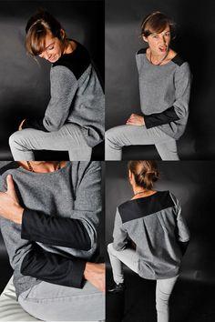 Tunique Laly, tweed gris et noir Une souris dans mon dressing