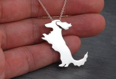 Unique silver Longhaired Dachshund  necklace