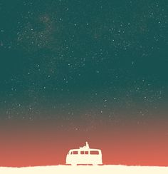 Quiet Night - starry sky Art Print by Budi Kwan