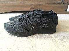 ef34b3a3cd826 Nike Flyknit Racer Unisex Triple Black Limited Edition Deadstock UK8  US9 EU42.5