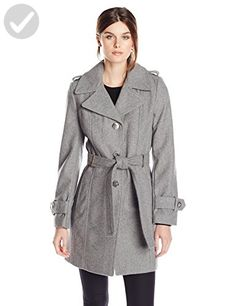 Calvin Klein Women's Single Breasted Wool Coat with Belt, Tin, Large - All about women (*Amazon Partner-Link)