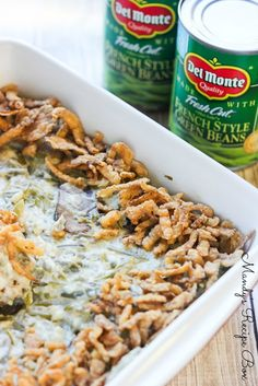 This Green Bean Casserole is a twist on the old classic. It's made with sauteed mushrooms and a homemade cream sauce instead of canned soup. It's the perfect side dish to your Thanksgiving menu. Potluck Recipes, Side Dish Recipes, Cooking Recipes, Healthy Recipes, Healthy Foods, Dessert Recipes, Desserts, Thanksgiving Sides, Thanksgiving Recipes