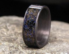 Meteorite Shavings with Pacific Blue Lab Opal by HolzRingShop
