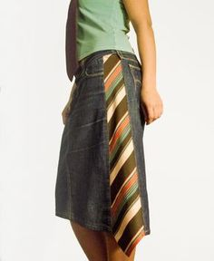 Original design by Larut.eu - Added tie to a pair of jeans upcycled to a skirt