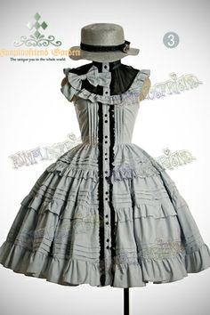 Classical Lolita Pintuck Tiered Circle Buttom Dress*4color Instant Shipping  in green, please <3